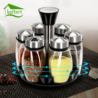 Rotating Stainless Steel Glass Spice Jars Set Salt Pepper Spray Seasoning Jars Sets for Spices Kitchen Cooking Tools 7Pcs/Set