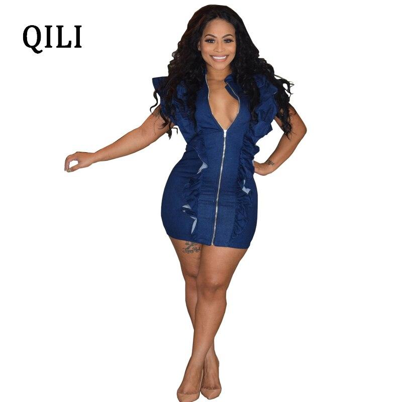 QILI Blue Denim Dress For Women Fashion Ruffles Short Sleeve Zipper Midi Wrap Dresses Sexy Womens Sheath Bodycon