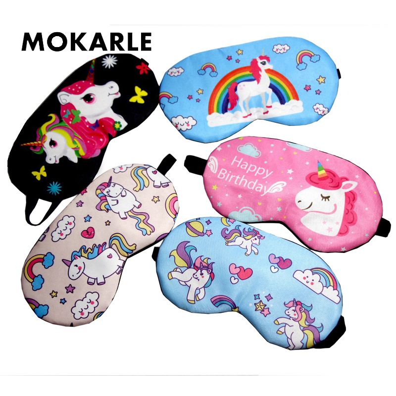 2019 HOT Cartoon Sleep Mask Rainbow Unicorn Sleeping Eye Mask Eyeshade  Cover Shade Patch Travel Relaxing Sleeping Aid Blindfolds