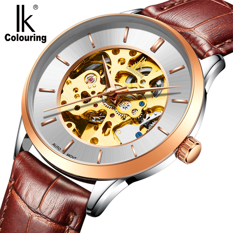 IK Colouring New Design Retro Hollow Golden Auto Self-WindMechanical Luxury Watch Men Skeleton Wristwatch Original Box for Gift ik colouring automatic double sided hollow casual men s skeleton dial horloge auto mechanical wristwatch original box watch