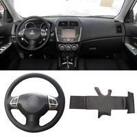 DIY Sewing on PU Leather Steering Wheel Cover Exact Fit For Mitsubishi Lancer EX Outlander ASX Colt Pajero Sport