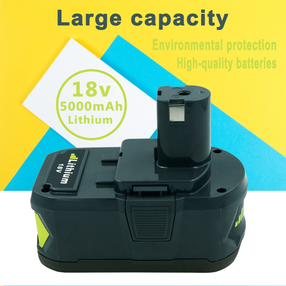 New 18V 5.0Ah Replacement Power Tool Battery for Ryobi 18-Volt P241, P246, P250, P2500, P2600, P2603, P271 18v 3 0ah nimh battery replacement power tool rechargeable for ryobi abp1801 abp1803 abp1813 bpp1815 bpp1813 bpp1817 vhk28 t40