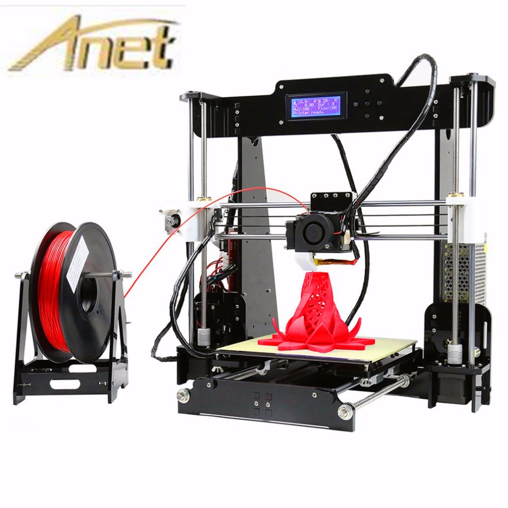 2017 Upgrade Auto leveling Prusa i3 3D Printer kit diy Anet A8 3d printer with Aluminum Hotbed Free 10m Filament 8GB card LCD d800 6d slr camera mobile desktop mute rail car three 360 degree rotation