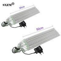 Sxzm impermeable 30 cm o 50 cm LED Meteor luz 8 piezas tubos AC110V AC220V wedding Xmas UE /ee.uu. falling raindrop luces
