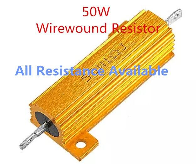 Original 50W 1R 2R 3R 4R 5R 6R 8R 10R 15R 20R Aluminum Power Metal Shell Case Wirewound Resistor 1 2 3 4 5 6 8 10 15 20 Ohm 50W