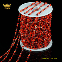 Rosary NEW Style Glass Chains,3x4mm 3 Red Color Glass Plated Brass Wire Wrapped Faceted Rondelle Glass Links Chains Supply ZJ157