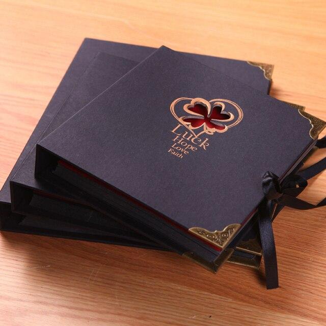 carta nera diy handmade photo album di foto album libro tipo pasta
