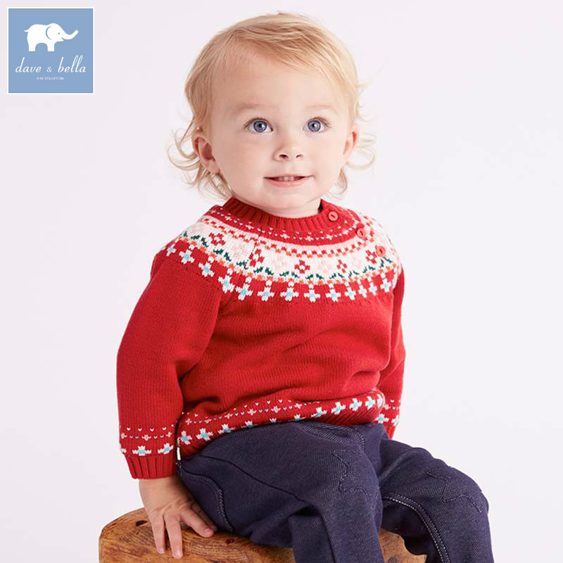 DBZ6026 dave bella autumn baby boys Christmas red cotton pullover sweater lovely clothes toddler children knitted Sweater t100 children sweater cotton toddler boy sweater o neck long sleeve knitted boy sweater brand pullover cute pattern boys clothes