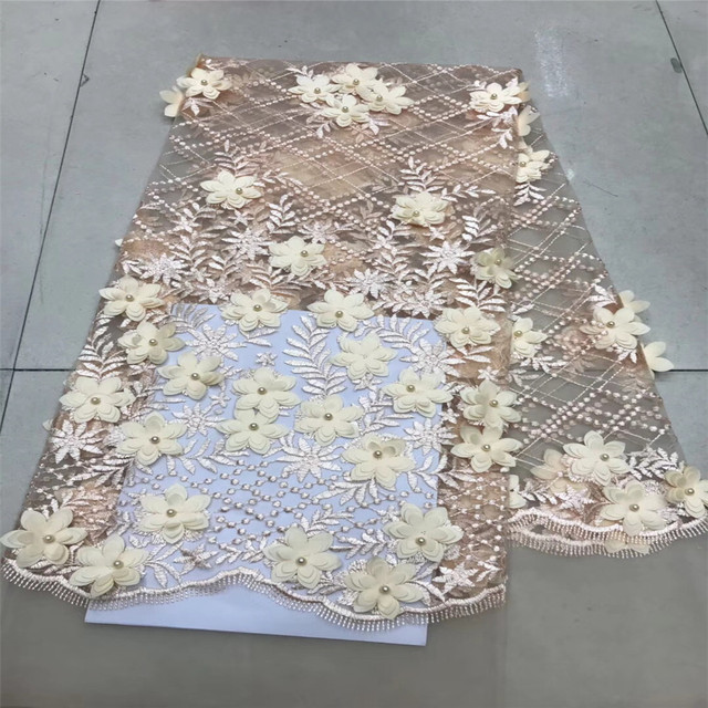Nigerian French Lace Fabric 2018 African 3D Flowers Tulle Lace Fabric High Quality African Lace Wedding Fabric For Dress GF107-2