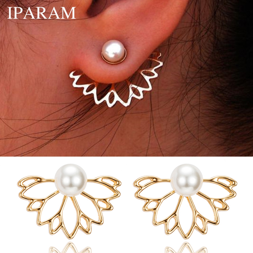 IPARAM 2020 Lotus Pearl Jacket Flower Stud Earrings For Women Fashion Jewelry Double Sided Gold Silver Plated Earrings