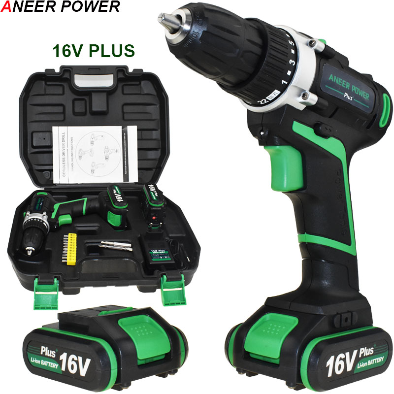 16V Plus Electric Screwdriver Cordless Drill Electric Drill Electric 2 Batteries Screwdriver Power Tools Mini Drill Drilling wowstick 1fs pro precision mini cordless electric screwdriver with 2 batteries for iphone mobile phone camera repair tools hw