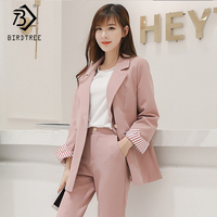 New Autumn Winter Women's Pants Suits Blue And Pink Fashion Solid Turn down Collar Tops And Casual Pants Two Piece Sets S99023L