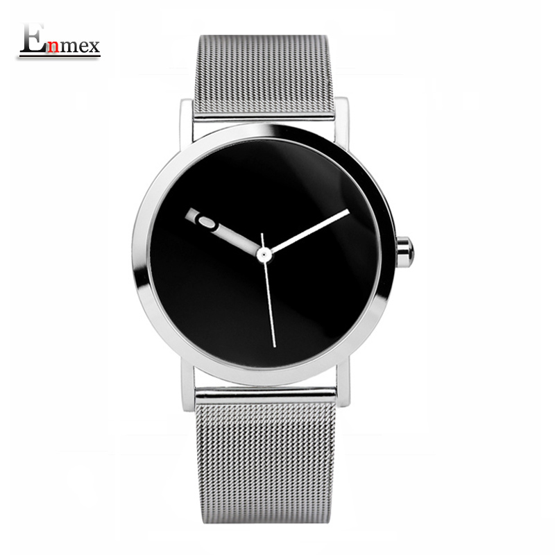 2017 Enmex creative design  wristwatch knit steel frabic band dark face unique simple design clock fashion quartz watches ladies gift new style watch enmex creative design starlight in the night sky simple face steel band quartz fashion wristwatch
