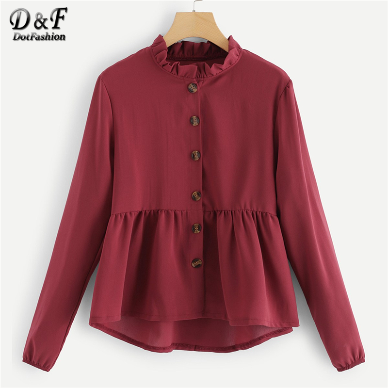 Dotfashion Burgundy Solid Frill Button Through Blouse Women 2019 Autumn Casual Ladies Top Stand Collar Long Sleeve Placket Shirt