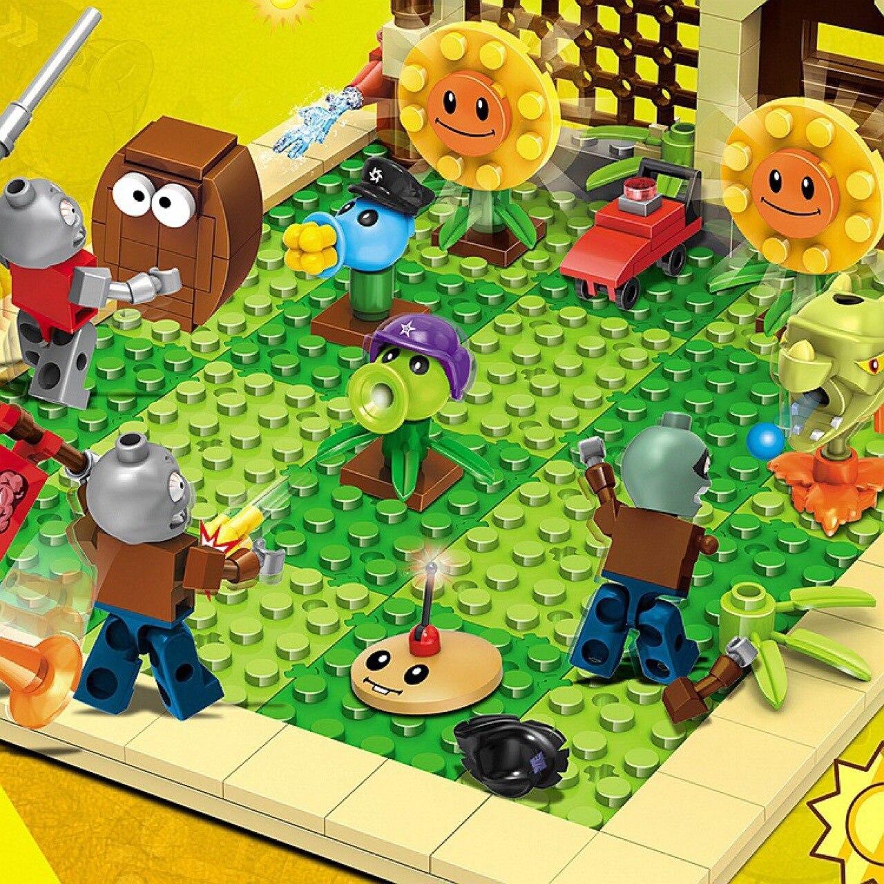 Купить с кэшбэком 2 style plants vs zombies can shoot struck game action toys & figures Building Blocks Bricks Compatible gifts