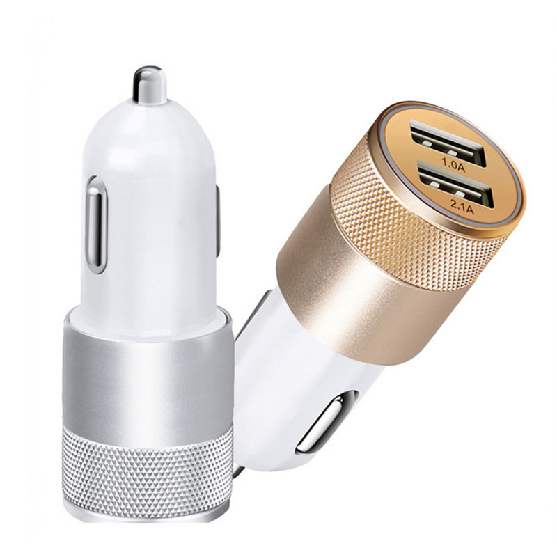 Universal car USB charger for phone Mini Aluminum 5V 2.1A Dual Usb car charger for iphone samsung S7 LG G3 smartphone Tablet PC