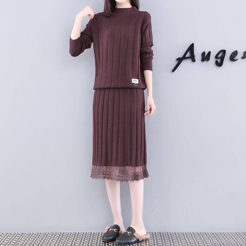 2019 Autumn Winter Knitted Two Piece Sets Women Plus Size Sweater And Lace Splicing Skirt Suits Casual Elegant Loose 2 Piece Set 41
