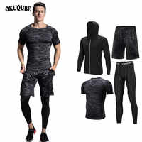 Hommes Sportswear noir Compression sport costume élastique survêtement respirant entraînement vêtements Jogging Fitness entraînement course ensemble