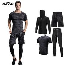Мужская спортивная одежда, черный компрессионный спортивный костюм, эластичный спортивный костюм, дышащая одежда для тренировок, комплект для бега и фитнеса