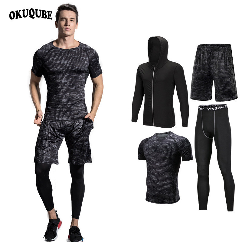OKUQUBE New Sportswear Men Five Pieces Male Fitness Clothing Printed Top+Shorts Slim Tights Elastic Running Suit S-4XL Gym Set printed round collar gym tank top shorts for men