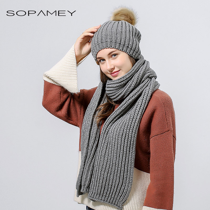Woman Knitted Beanie Hat and Scarf Set Real Fox Fur Pom Pom Hats for Women Infinity Scarf Fur hat Autumn Winter Girls Skullies skullies 2017 new arrival hedging hat female autumn and winter days wool cap influx of men and women scarf scarf hat 1866729