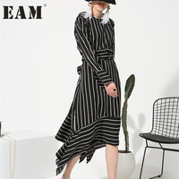 Soonoyur 2017 New Sping Round Neck Long Sleeve White Striped Loose Dress For Women Fashion