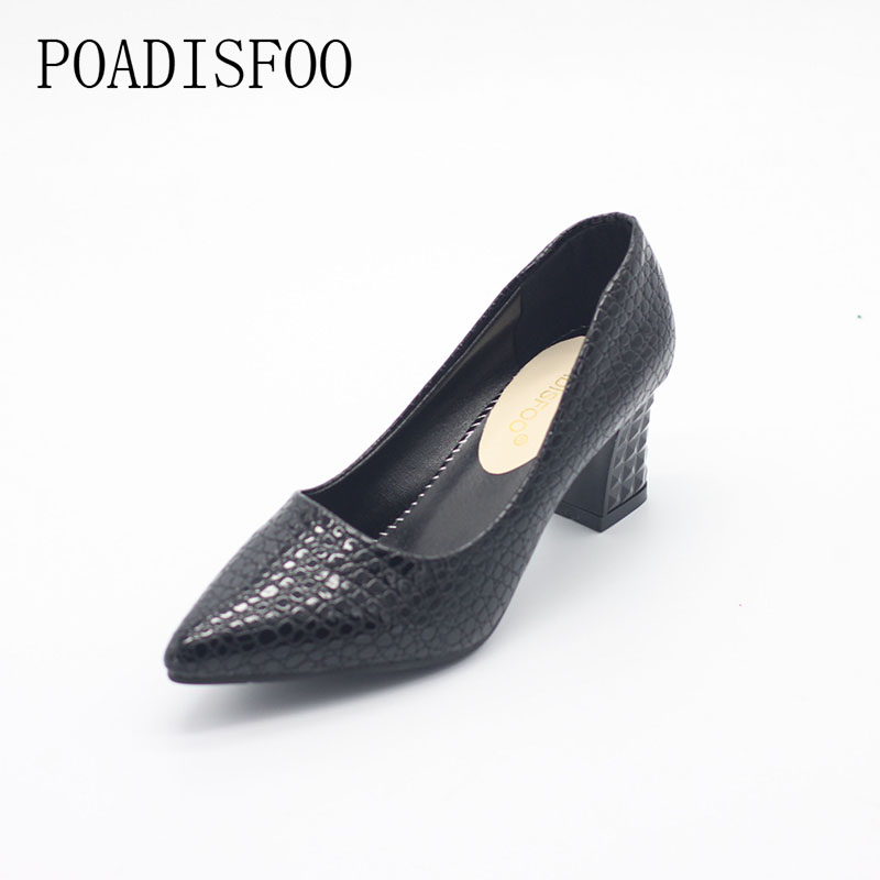 POADISFOO 2017 Korean Design Of The Autumn Fashion Shoes Pu Shallow low-heeled Shoes With High Heel Pointed Shoes .LSS-888