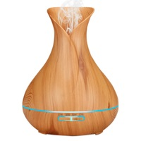 IVYSHION Ultrasonic Air Humidifier 7 Color LED Changing Wood Grain Ultrasonic Oil Diffuser Office Home Aroma