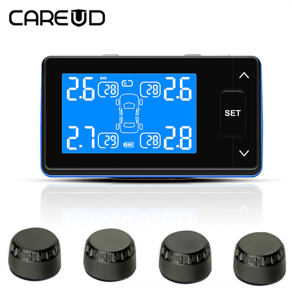 CAREUD Smart Car TPMS Tyre Pressure Monitoring System charging Digital LCD Display Auto Security Alarm Systems