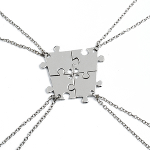 4 Pcs Best Friends Necklaces Puzzle Silver-Plated Pendant For Friendship BFF Jigsaw Choker Necklaces For Family Jewelry Gift(China)