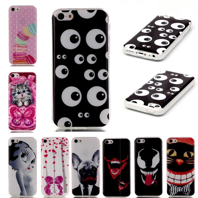 cheap for discount 4b7ed 5b091 For iPhone 5 Soft TPU Phone Cases Cover For iPhone SE 5S 5C 5 S C Case  Coque Etui Capinha Red Flower Dress Dog Cute Tiger Cat-in Fitted Cases from  ...