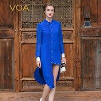 VOA 2017 Autumn Long Sleeve Turn Down Collar Blue Silk Shirt Dress Plus Size Simple Solid