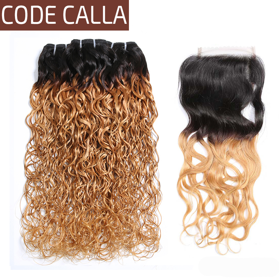 Code Calla Indian Water Wave Bundles With 4*4 Lace Closure Ombre Brown Color Raw Virgin Human Hair Weave Sexy Curly Extension