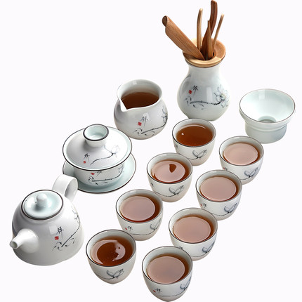 Chinese Ceramic Kung Fu Tea Set Home Living Room Table Porcelain Oolong Tea Pu'er Teapot Teacup Bowl Set Tea Ceremony