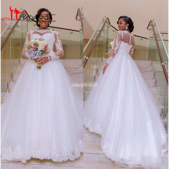 6949d5ce71 2017 Custom A Line Wedding Dress Lace Applique Sheer Long Sleeve Plus Size  Nigerian Garden Country Bridal Gown Vestdios De Novia
