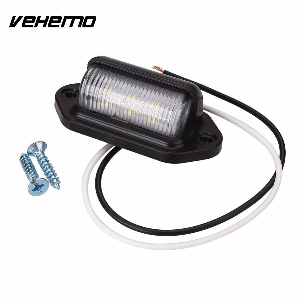Vehemo 10-30V Bright 6 LED Number License Plate Tail Light Lamp Bulb for Motorcycle Boats Aircraft Automotive Trailer RV Truck 2x white led license plate bolt light bulb lamp for car motorcycle motorbike 12v universal use tail license light