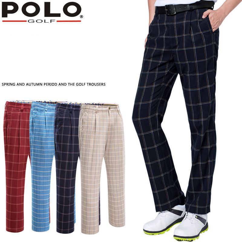 Brand Polo Vintage Plaid Golf Pants For Men Male Plus Velvet Fleece Elastic Trousers In Autumn Winter Spring 2017 spring autumn winter men fleece jeans male thermal denim pants adult full length warm trousers size 28 38