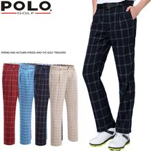Brand Polo Vintage Plaid Golf Pants For Men Male Plus Velvet Elastic Trousers In Autumn Winter Spring