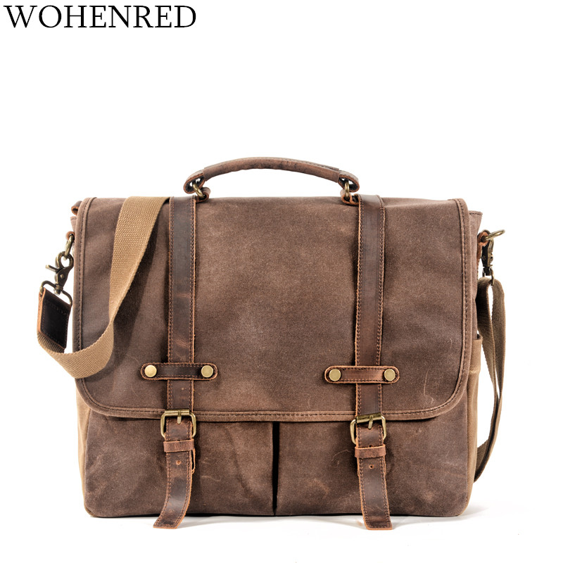 15.6 Inch Vintage Mens Messenger Bag Waterproof Oil Waxed Canvas Computer Laptop Bag Male Large Briefcase Satchel Shoulder Bags