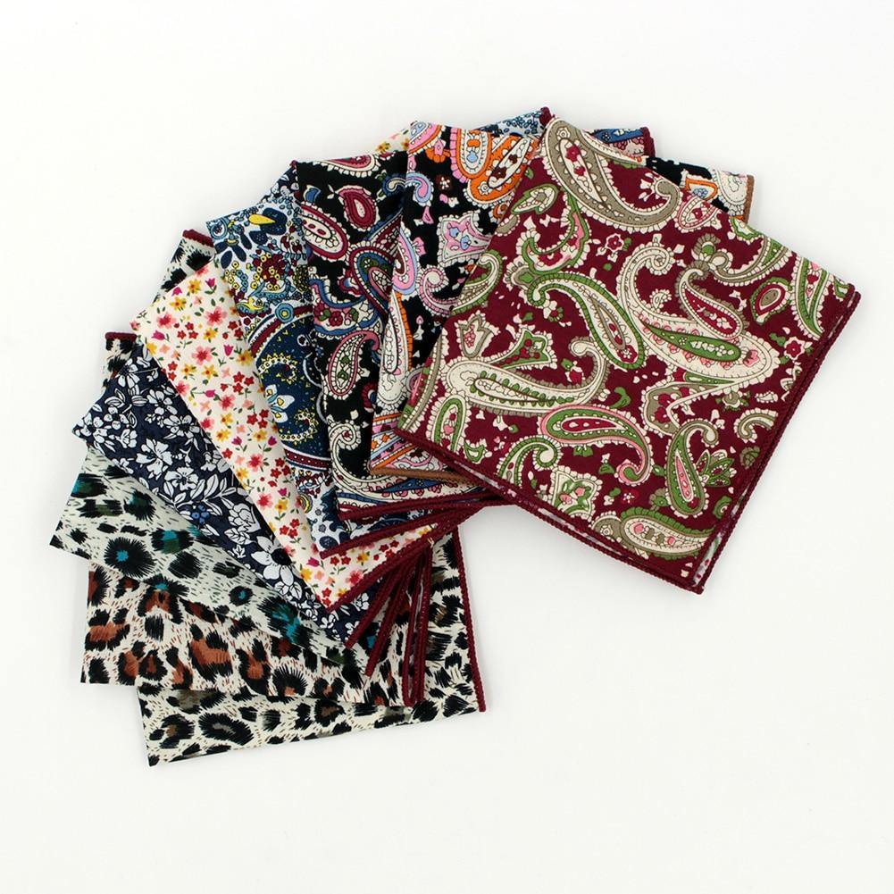 2017 Fashion Christmas Gift For Men 100% Cotton Jacquard Paisley Flowers Dots Leopard Hankerchief Poket Square Hanky Wedding