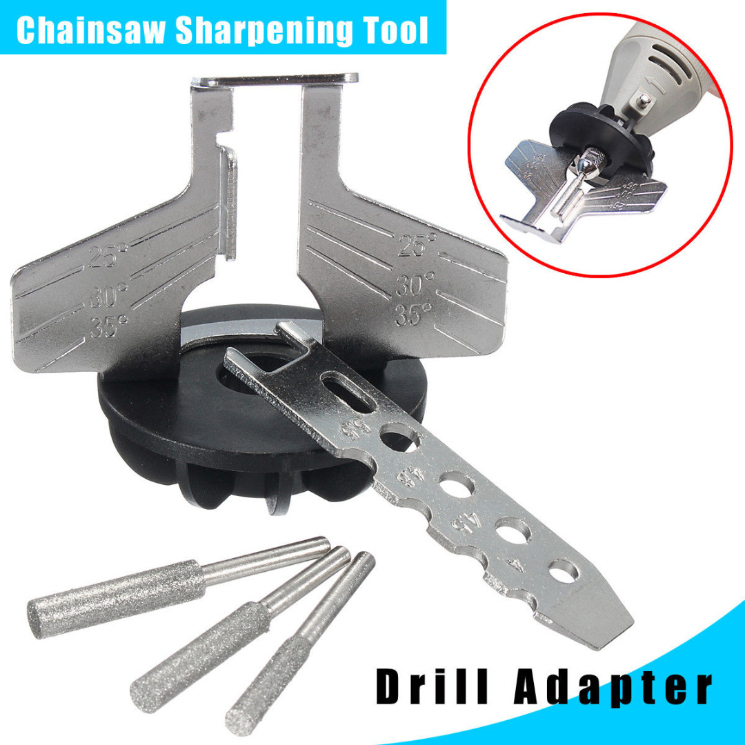 DWZ Chainsaw Sharpening Tool Attachment Rotary Power Drill Hand Sharpener Adapter right angle drill attachment three jaw chuck key adapter handle accessory tool