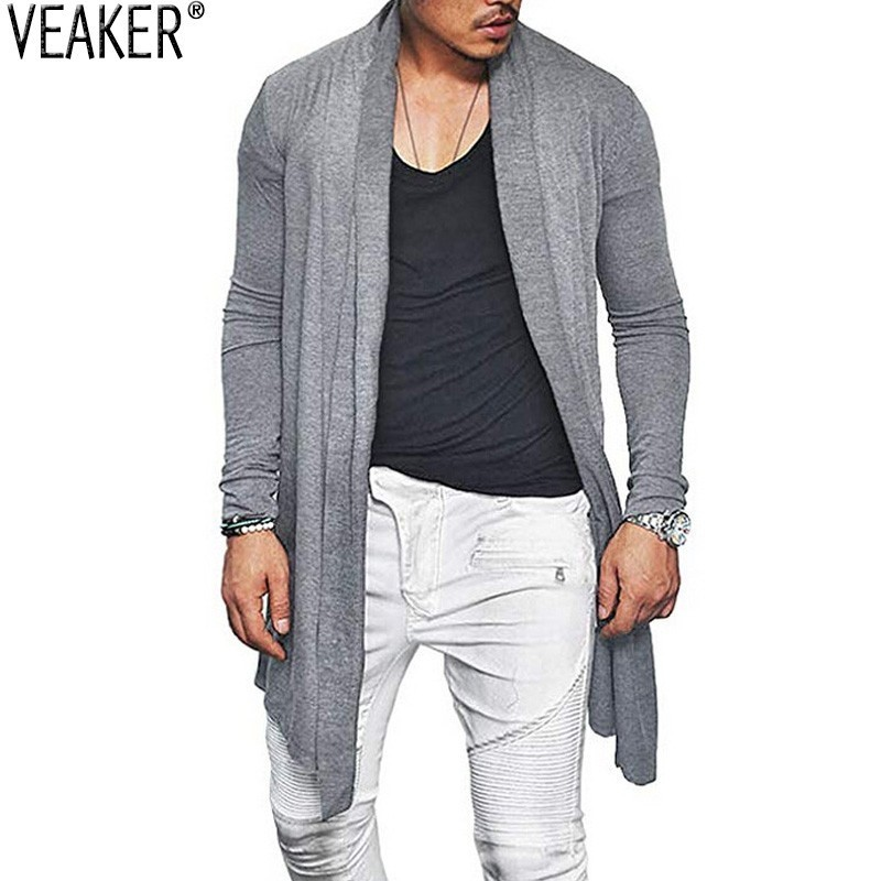 2019 New Men's Long Cardigans Outerwear Autumn Slim Fit Cotton Blend Cardigan Tops Male Solid Color Casual Long Sleeve Cardigan