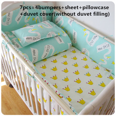 Promotion! 6/7PCS Crib Baby Bedding Set animal Baby Nursery Cot Bedding Crib Bumper , 120*60/120*70cm promotion 6 7pcs cartoon crib baby bedding set baby nursery cot bedding crib bumper quilt cover 120 60 120 70cm