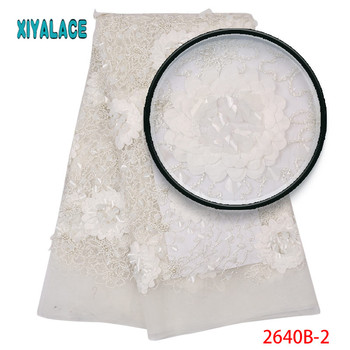2019 High Quality African Lace Fabric  White French Net 3D Embroidery Tulle Lace Fabric For Nigerian Wedding Party Dress 2640B