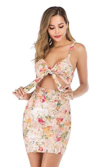 Sexy floral Sequins summer Midi dress women bandage Backless wrap club party dress elegant bodycon vintage dresses vestidos New