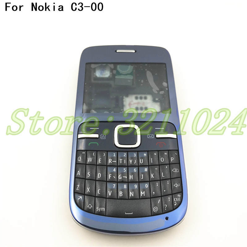 best service b6a97 f7630 Good quality New Full Housing For Nokia C3 C3-00 Back Case Battery Cover  Front+Middle Frame Keypad C3-00 Replacement Part