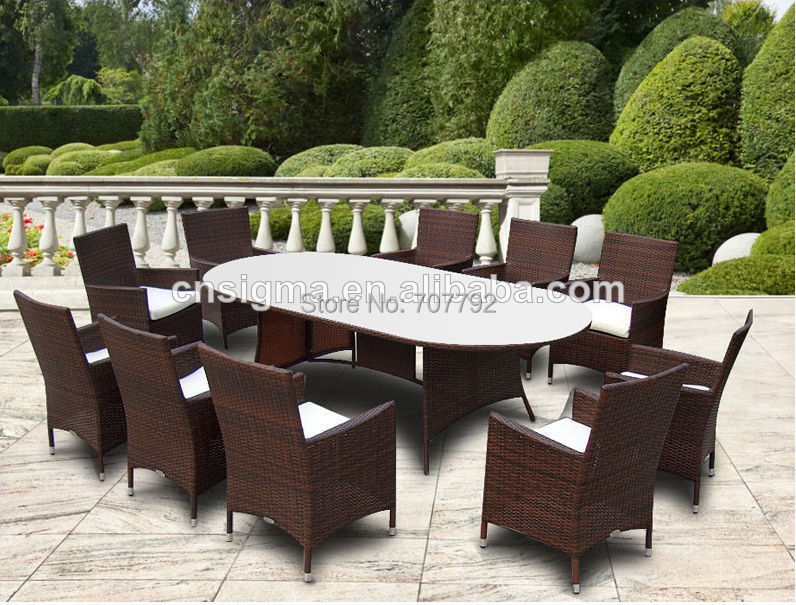 Elegant Outdoor Dining Set Rattan Glass Top Tables And Chairs