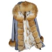 MAOMAOKONG новый для женщин Зимняя длинная куртка теплая мода лиса меховой воротник с роскошной кролика рекс мех животных теплая парка пальт