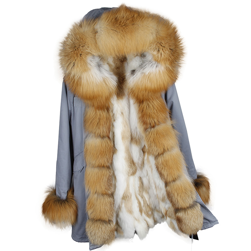 MAOMAOKONG NEW Women Winter Long Jacket Warm Fashion  Fox Fur Collar  With Luxury Rex Rabbit Fur Liner Parka Coats 2017 winter new clothes to overcome the coat of women in the long reed rabbit hair fur fur coat fox raccoon fur collar