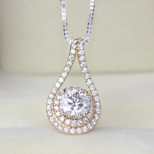 Genuine 14k white yellow gold 1 ct g h white lab grown moissanite genuine 14k white yellow gold 1 ct g h white lab grown moissanite diamond pendant necklace lab grown diamond fine jewelry in pendants from jewelry aloadofball Image collections